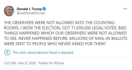 خبرنگاران ترامپ: با 71 میلیون رای برنده شدم